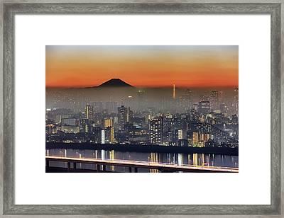 Tokyo Mt Fuji Fog Framed Print by Krzysztof Baranowski
