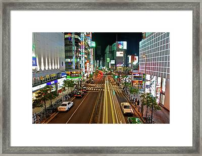 Framed Print featuring the photograph Tokyo Neon Streaks by Jonah  Anderson