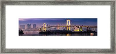 Tokyo Rainbow Bridge Soaring Over Framed Print by Fotovoyager