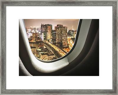 Tokyo Skyline From The Airplane Framed Print by Franckreporter