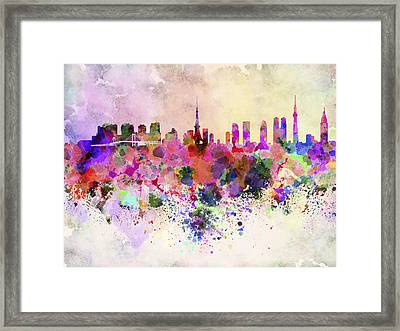 Tokyo Skyline In Watercolor Background Framed Print