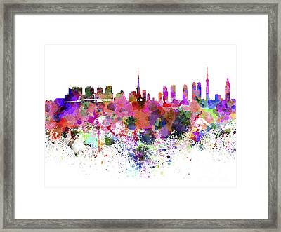 Tokyo Skyline In Watercolor On White Background Framed Print