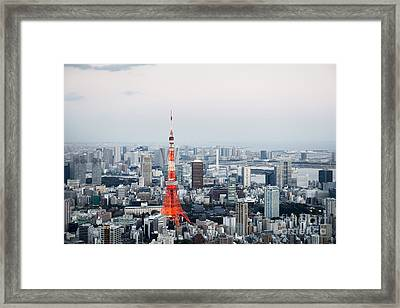 Tokyo Tower And Cityscape Framed Print