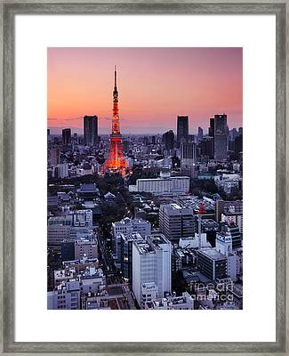 Tokyo Tower During Sunset Framed Print