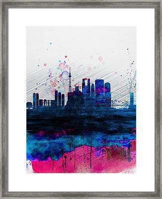 Tokyo Watercolor Skyline 2 Framed Print by Naxart Studio