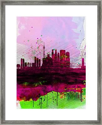 Tokyo Watercolor Skyline Framed Print by Naxart Studio