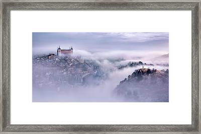 Toledo City Foggy Morning Framed Print