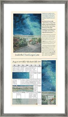 Tolkien Hobbit Calendar Inside The Elvenking S Gate Bi-fold August Framed Print by Glen McDonald