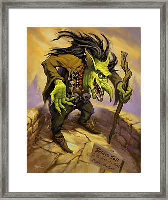 Toll Troll Framed Print by Jeff Haynie