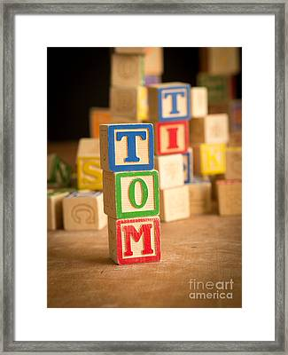 Tom - Alphabet Blocks Framed Print by Edward Fielding
