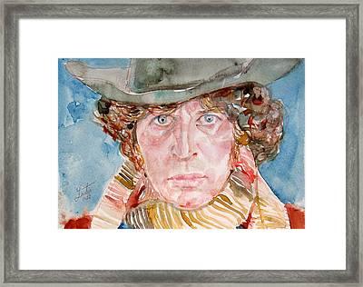 Tom Baker Doctor Who Watercolor Portrait Framed Print by Fabrizio Cassetta