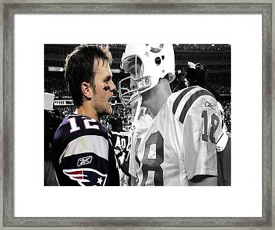 Tom Brady And Peyton Manning Face Off 1 Framed Print by Brian Reaves
