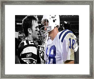 Tom Brady And Peyton Manning Face Off 2 Framed Print by Brian Reaves