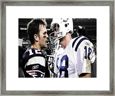 Tom Brady And Peyton Manning Face Off 3 Framed Print by Brian Reaves