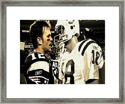 Tom Brady And Peyton Manning Face Off  Framed Print by Brian Reaves