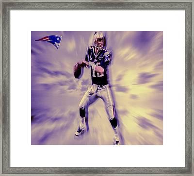 Tom Brady In The Pocket Framed Print by Brian Reaves