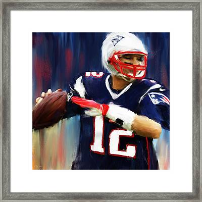 Tom Brady Framed Print by Lourry Legarde