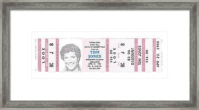 Tom Jones 1988 Ticket Stub Poster Framed Print