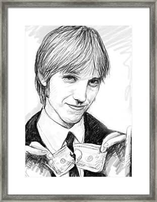 Tom Petty Art Drawing Sketch Portrait Framed Print
