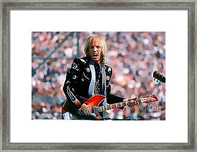 Tom Petty At Live Aid In Philadelphia Framed Print by Wernher Krutein