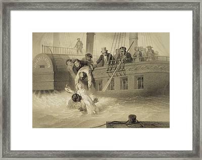 Tom Saves Evangeline, Plate 4 Framed Print by Adolphe Jean-Baptiste Bayot