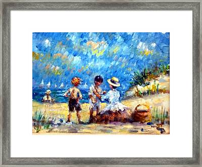 Tom Steve With Gerry At The Beach Framed Print
