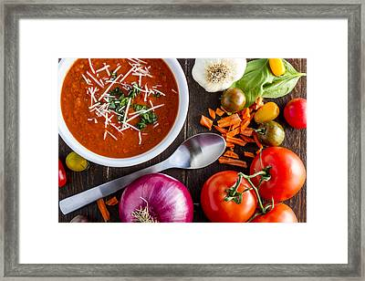 Tomato And Basil Soup Framed Print by Teri Virbickis