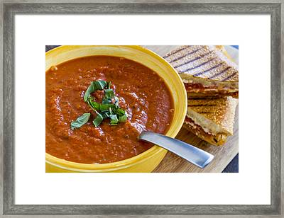 Tomato And Basil Soup With Grilled Cheese Panini Framed Print