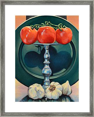Tomato And Garlic Framed Print by Kenneth Cobb