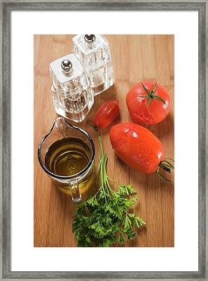 Tomato Sauce Ingredients: Tomatoes, Parsley, Olive Oil, Salt Framed Print