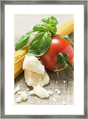 Tomato With Spaghetti, Parmesan And Basil Framed Print