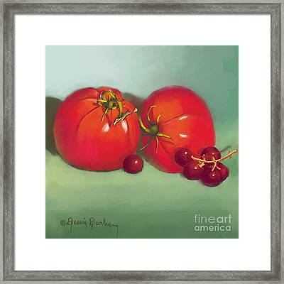 Tomatoes And Concord Grapes Framed Print by Dessie Durham