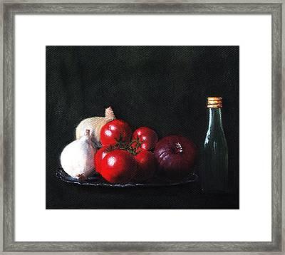 Tomatoes And Onions Framed Print by Anastasiya Malakhova