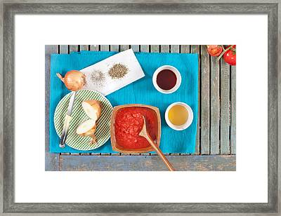 Tomatoes And Onions Framed Print by Tom Gowanlock