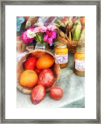 Tomatoes And Peaches Framed Print by Susan Savad