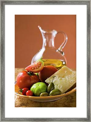 Tomatoes, Green Olives And Parmesan On Plate, Olive Oil Framed Print