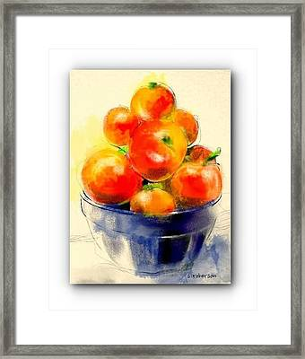 Tomatoes In Blue Bowl Framed Print by Sue Roberson