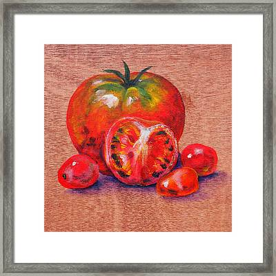 Tomatoes Framed Print by Judy Bruning