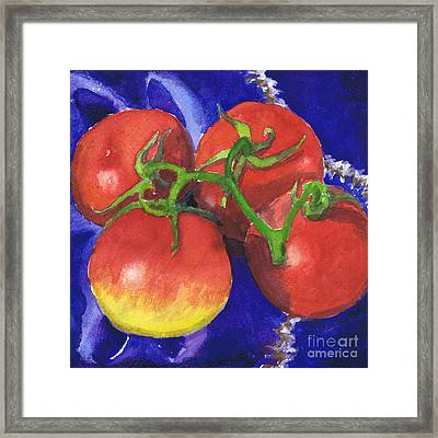 Tomatoes On Blue Tile Framed Print by Susan Herbst