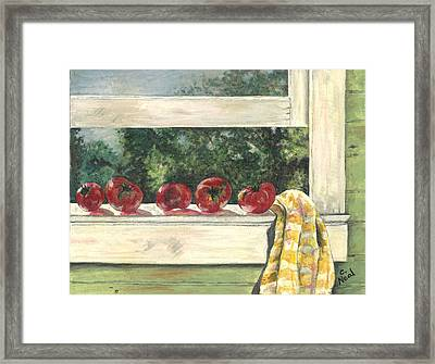 Tomatoes On The Sill Framed Print