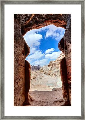 Tomb In Petra Framed Print by Alexey Stiop
