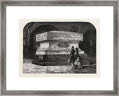 Tomb Of The Late Duke Of Wellington In The Crypt Of St Framed Print by English School
