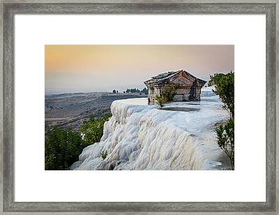 Tomb Submerged In A Travertine Pool Framed Print