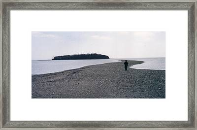 Tombolo At Silver Sands Beach Framed Print by David Fiske