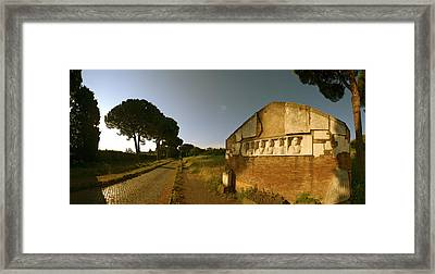 Tombs And Umbrella Pines Along The Via Framed Print