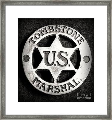 Tombstone - Us Marshal - Law Enforcement - Badge Framed Print