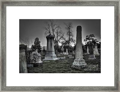 Tombstones And Tree Skeletons Framed Print by Juli Scalzi