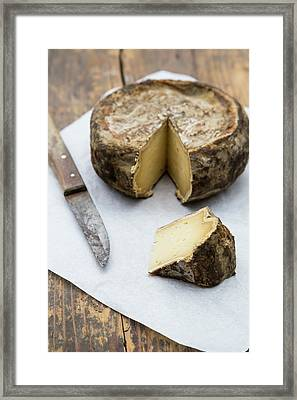 Tomme De Savoie Cheese And Knife On Framed Print by Westend61