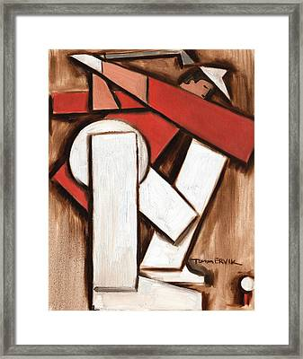 Abstract Golfer Art Print Framed Print by Tommervik