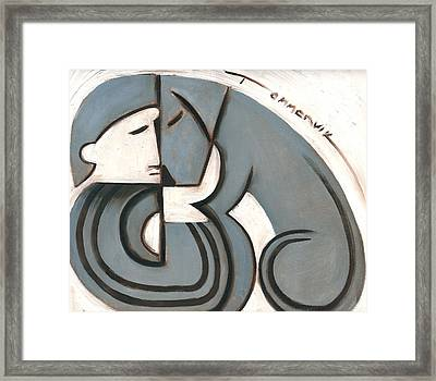 Art Deco Man And Dog Art Print Framed Print by Tommervik